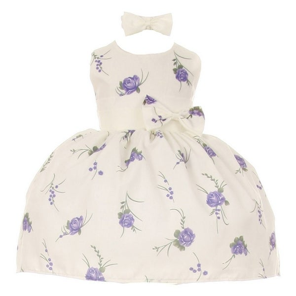 Baby Girls Purple Floral Print Headband Easter Special Occasion Dress 3-24M