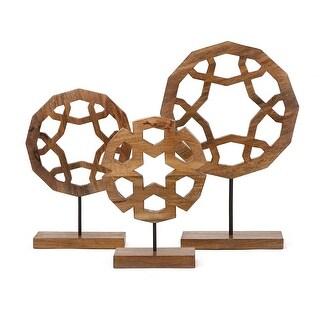 IMAX Home 73373-3  Jansen Three Piece Wood Statue Set - Brown