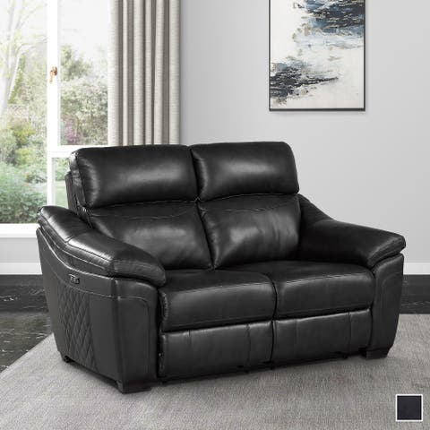 Larue Leather Power Double Reclining Loveseat with USB Ports