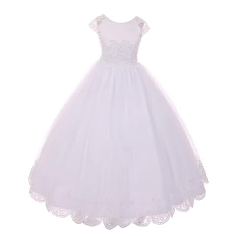 Rain Kids Girls White Satin Lace Junior Bridesmaid Communion Dress
