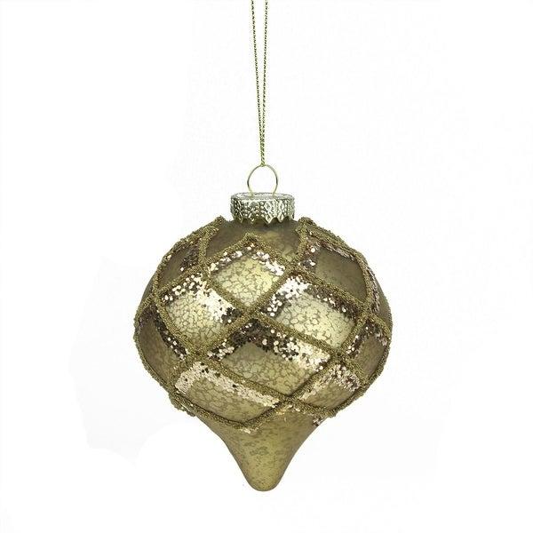 "4.5"" Rich Elegance Gold Mercury Glass Glittered Onion Finial Christmas Ornament"