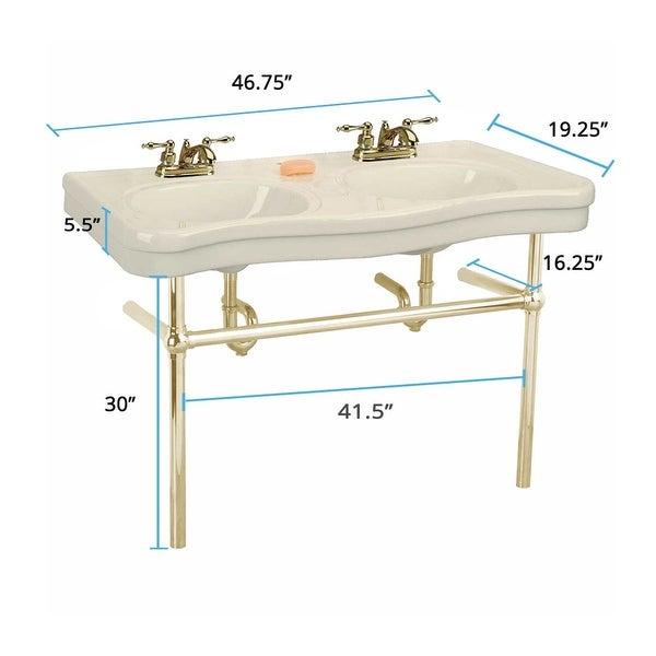 Shop Double Deluxe Biscuit Bathroom Console Sink With ...