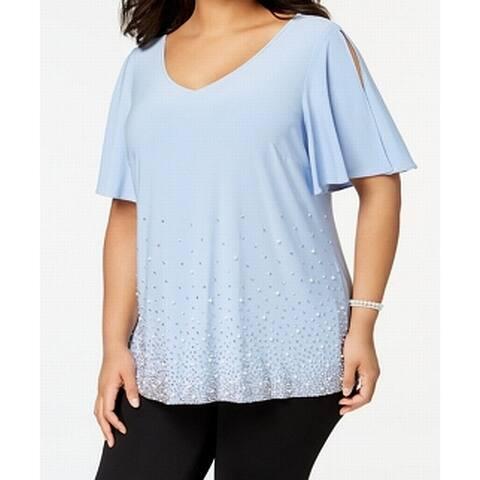 MSK Light Blue Womens Size 1X Plus Embellished V-Neck Knit Top