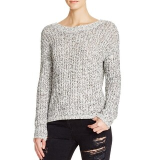 Aqua Womens Pullover Sweater Crochet Cut-Out Back