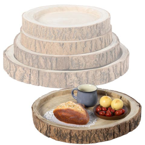 Wood Tree Bark Indented Display Tray Serving Plate Platter Charger - Set of 4