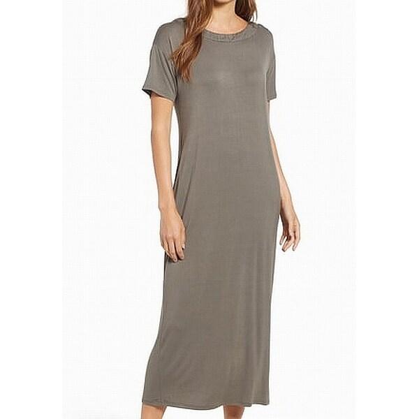 a0c0471990bb2 Bobeau Olive Green Women's Size XS Boat Neck Solid Maxi Dress
