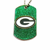 Green Bay Packers Dog Fan Tag Glitter Sparkle Necklace