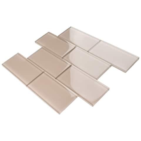 "TileGen. 3"" x 6"" Glass Subway Tile in Beige Wall Tile (80 tiles/10sqft.)"