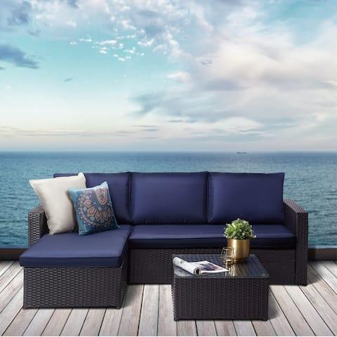 Peaktop - 3 Piece Patio Sectional Sofa Set