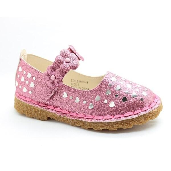 3e343d93ab Little Girls Pink Glitter Heart Floral Accent Dress Shoes