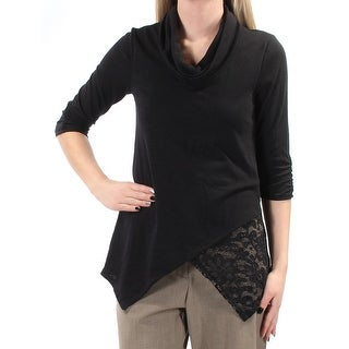 Womens Black 3/4 Sleeve Cowl Neck Wear To Work Faux Wrap Top Size XS
