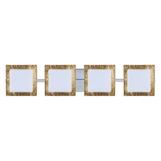 BESA Lighting 4WS-7735GF Alex 4 Light ADA Compliant Halogen Bathroom Vanity Light with Opal / Gold Foil Glass Shades