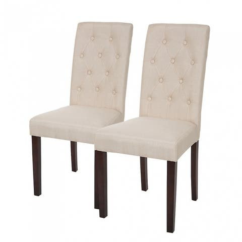 Glitzhome Modern Padded Fabric Dining Chairs Set of 2
