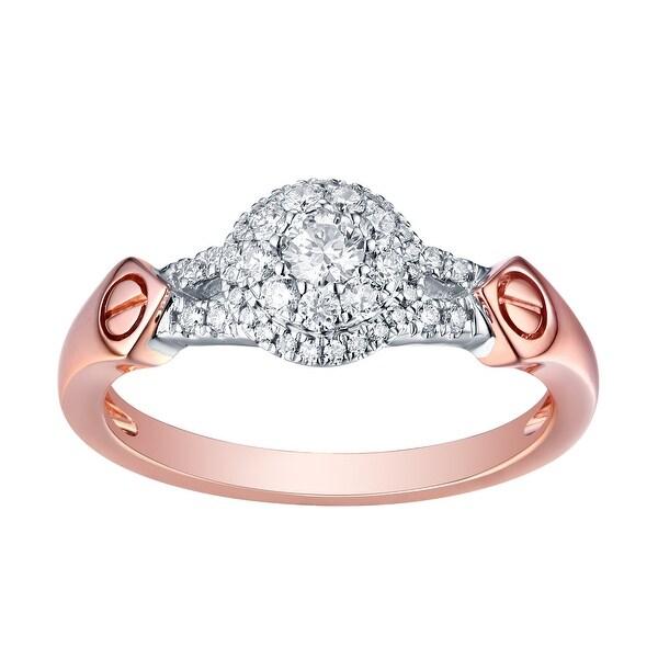 Brand New 0.38 Carat Round Brilliant Cut Natural G-H/SI1 Diamond Engagement Designer Ring - White G-H
