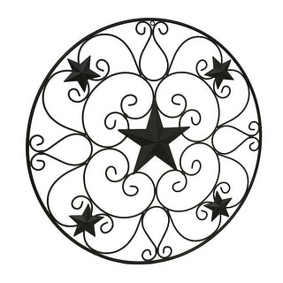 Rustic Brown Metal Stars and Scrolls Indoor/Outdoor Wall Hanging 32 Inch - 0.25 X 32 X 32 inches