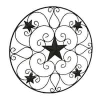 Rustic Brown Metal Stars and Scrolls Indoor/Outdoor Wall Hanging 32 Inch