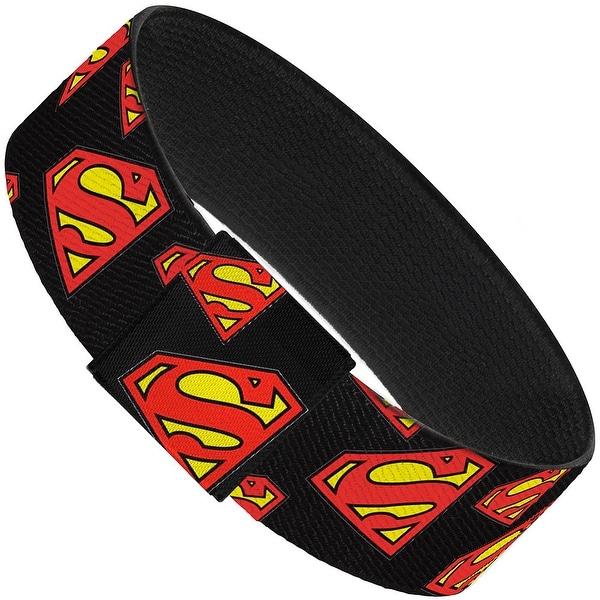 Super Shield Diagonal Black Red Elastic Bracelet