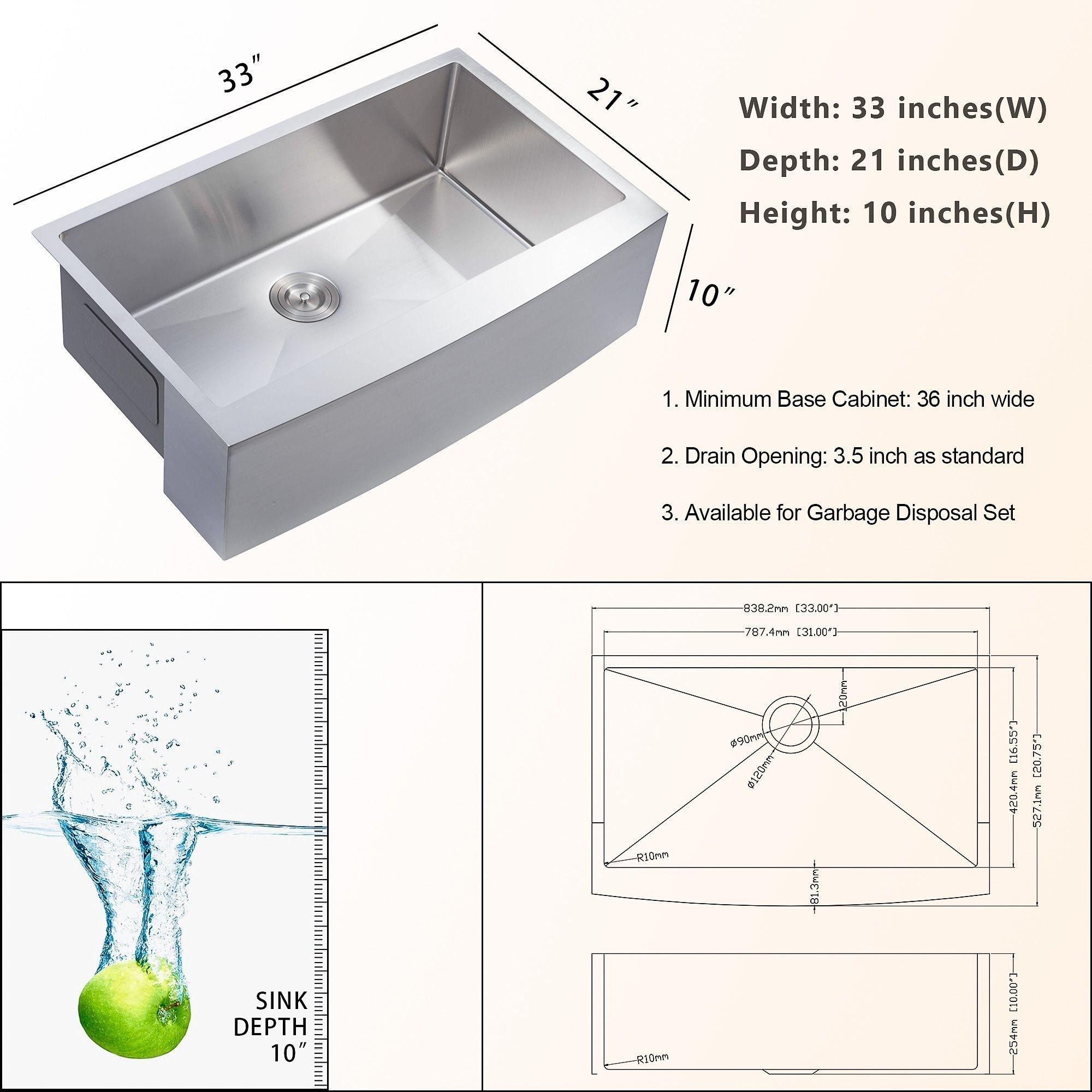 Lordear 33 Inch Farmhouse Kitchen Sink 16 Gauge Stainless Steel Apron Front Single Bowl Farm Kitchen Sink On Sale Overstock 31706142 30 X 21 X 10 Silver