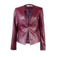 Tahari ASL Women's Faux Leather Collarless Jacket - Garnet
