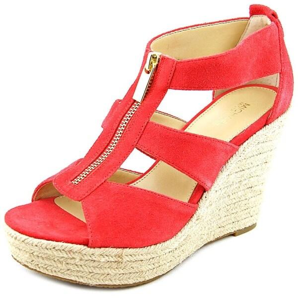 58c9e2ab7d41 Michael Michael Kors Damita Wedge Women Open Toe Suede Red Wedge Heel