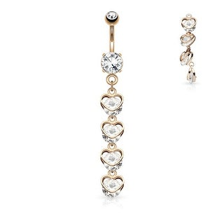Vertical Drop CZ Hearts Dangle Surgical Steel Belly Button Navel Ring - 14GA (Sold Ind.)