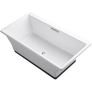 """Kohler K-894-F63 Reve 66"""" Free Standing Cast Iron Soaking Bath Tub with Brilliant Ash Base"""