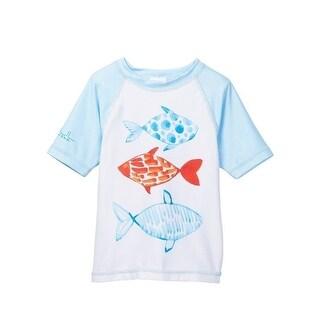 Azul Unisex Baby Kids White Multi Color Fish Short Sleeve Rash Guard