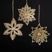 Club Pack of 36 Champagne and Gold Glittered Snowflake Christmas Ornaments 3""