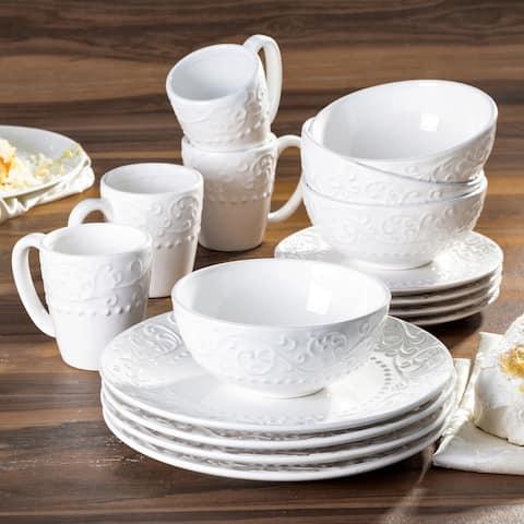 American Atelier Bianca White Ceramic 16-Piece Dinnerware Set