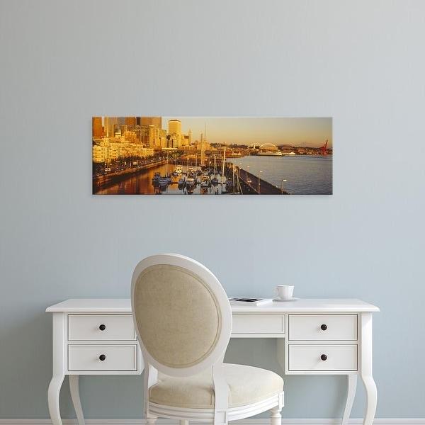 Easy Art Prints Panoramic Images's 'Elliott Bay, Bell Harbor Marina, Seattle, King County, Washington' Canvas Art