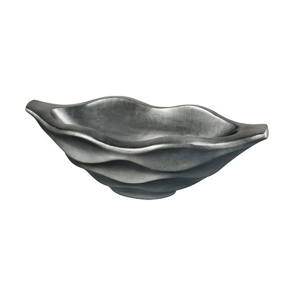 """32"""" Silver Wave Carved Design Small Planter - N/A"""