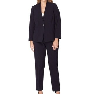 Tahari by ASL NEW Blue Women's Size 24W Plus One Button Pant Suit Set