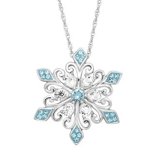 Crystaluxe Snowflake Pendant with Swarovski Crystals in Sterling Silver - Blue