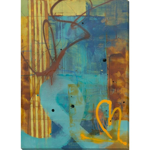 "48"" Blue and Brown Street Art Design Printed on Gallery Wrapped Canvas Wall Art - N/A"