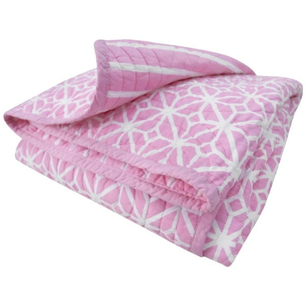 The Cocalo Collection Lattice Reversible Coverlet - light pink