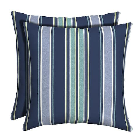 Arden Selections Sapphire Aurora Stripe Outdoor Square Pillow (2-Pack) - 16 in L x 16 in W x 5 in H