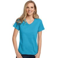 Hanes Relaxed Fit Women's ComfortSoft® V-neck T-Shirt - Size - 2XL - Color - Aquatic Blue
