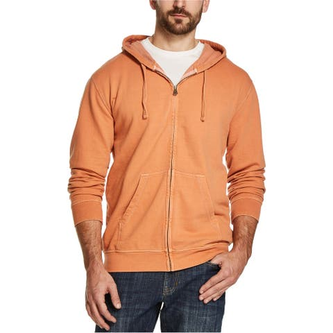 Weatherproof Mens Terry Hoodie Sweatshirt, Orange, Large