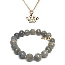 "Julieta Jewelry Set 10mm Grey Labradorite Sophia 7"" Stretch Bracelet & 12mm Crown CZ Charm 16"" 14k Over .925 SS Necklace"