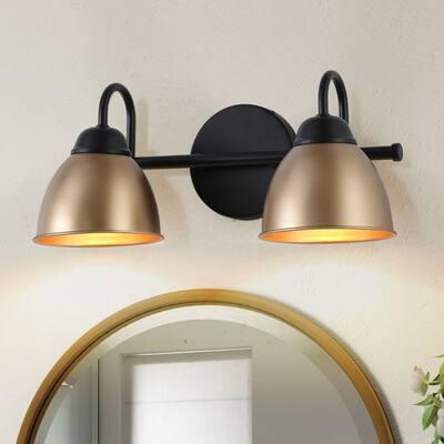 Modern Industrial 2-light Bathroom Vanity Light Black Gold Sconce Wall Lights