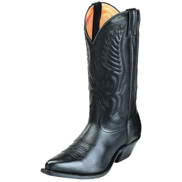 Boulet Western Boots Mens Cowboy Leather Sporty Black Deertan