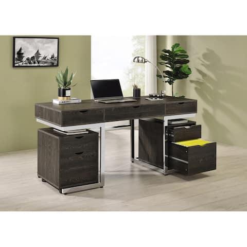 Noorvik Dark Oak and Chrome 3-piece Writing Desk Set