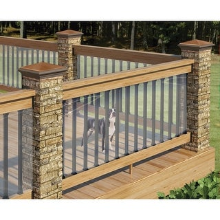 """Clear Plastic Deck Railing Shield - UV Resistant - 180"""" L x 35"""" H - Child Pet Dog Fence - 180 in. x 35 in."""
