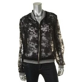 Lucy Paris Womens Lace Metallic Trim Jacket - L
