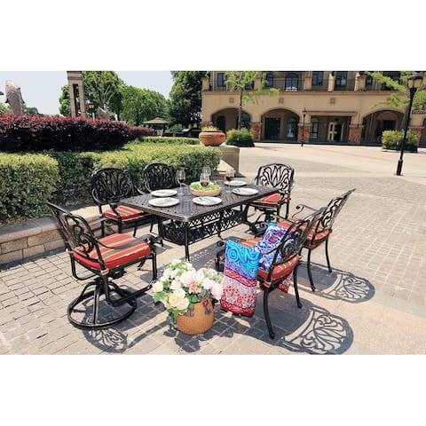 Moda Outdoor 7-Piece All-Weather Alum Garden Dining Set Swivel Chairs