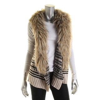 BB Dakota Womens Knit Faux Fur Vest