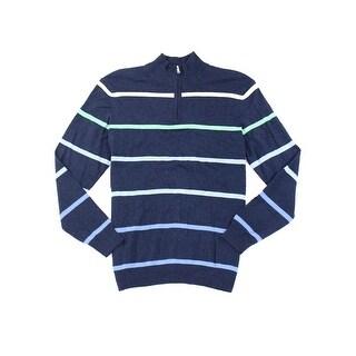 Club Room NEW Blue Mens Size Large L Striped 1/2 Zip Silk Sweater
