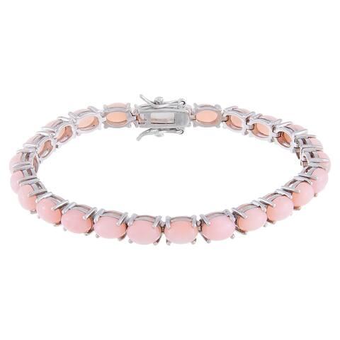 Oval-Cut Cabochon Pink Opal Tennis Bracelet, Sterling Silver