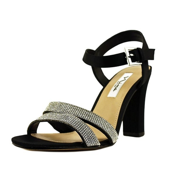 Nina Sylvie Women Open Toe Canvas Black Sandals