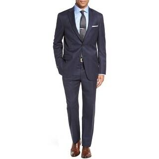 Hart Schaffner Marx New York Navy Windowpane Suit 36 Short 36S Pants 29W